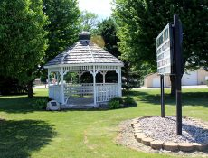 Gazebo and sign at Gilmore City City Park
