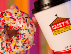 Caseys coffee and a sprinkled donut