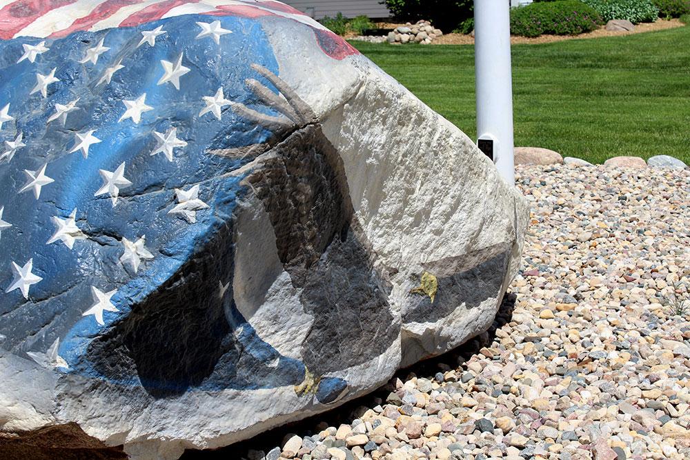 Closeup of bald eagle on Freedom Rock