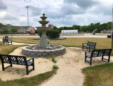 Fountain and benches at Gateway Park
