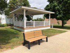 Gazebo and bench at Heritage Park