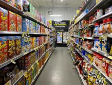 Cereal and coffee aisle in Dollar General store