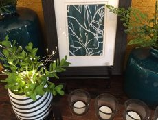 Plants, candles, and framed prints on display at Lizziedoodle