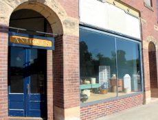 McMullen Antiques door and storefront