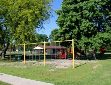 Swingset and playground at North Park
