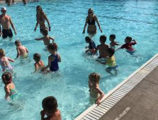 Children swimming in shallow end of pool