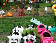 Cow, pig, and goat-shaped planters