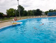 People swimming at Rolfe Swimming Pool