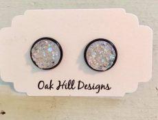 Circular opal earrings