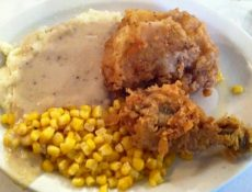 Fried chicken, corn, and mashed potatoes