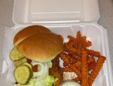 Tenderloin sandwich and sweet potato fries