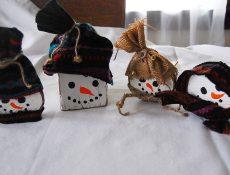 Handmade wooden snowmen