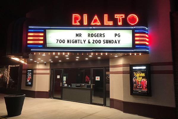 Rialto neon signs at night