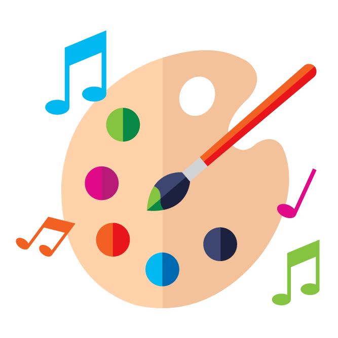 Illustration with paint palette, paint brush, and music notes