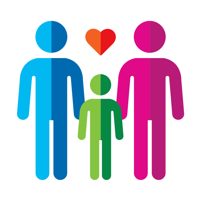 Illustration with stick figure family and a heart