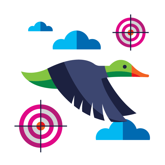 Illustration with duck, clouds, and shooting targets