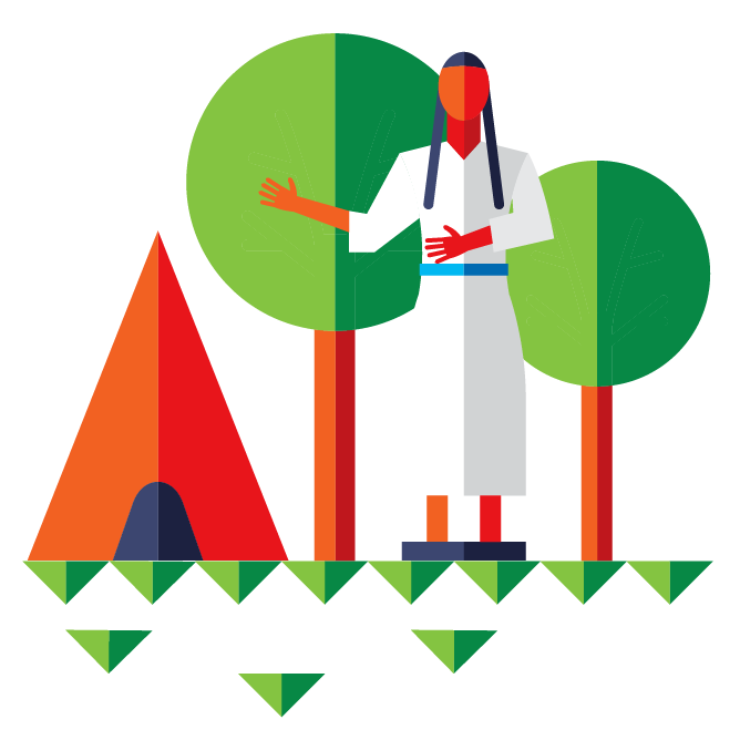 Illustration with Pocahontas statue, teepee, and trees