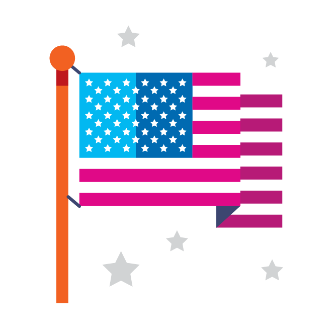 Illustration with American flag and stars