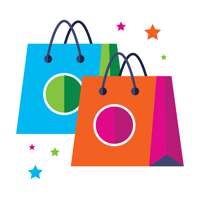 Illustration with shopping bags and stars