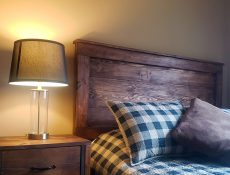Bed and end table with lamp