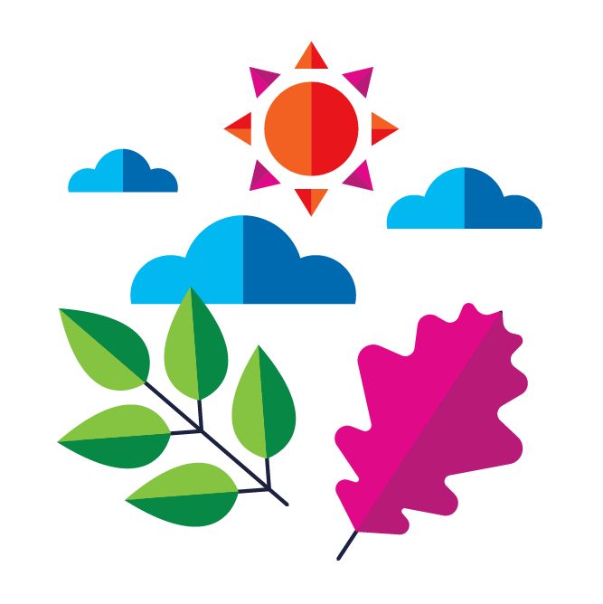 Illustration with leaves, clouds, and sun