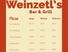 Weinzetls bar menu